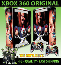 XBOX 360 OLD SHAPE CHILDS PLAY CHUCKY HORROR EVIL DOLL STICKER SKIN & 2 PAD SKIN