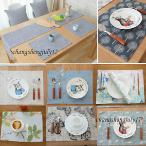 Cotton Linen Tablecloth Table Runner Placemat Mat for Kitchen Dinning Decoration