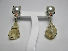 EARRINGS with PEARLS AND AUSTRALIAN ORANGE SAPPHIRE AND ROUGH STONE  scapolite