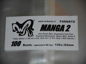 """100 BUSTE WR """"MANGA 2"""" 135x183 mm x Alan ford dal 524 Miki Blek libretto One-Pun"""