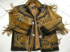 Qmuk Western flecos de cuero marrón y negro moto bikerjacket nativo americano