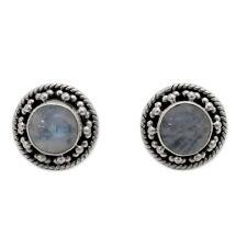 Moonstone Stud Stone Sterling Silver Handcrafted Earrings