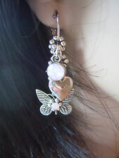 BUTTERFLY, HEART & ROSE WATER OPAL CRYSTAL  INTERCHANGABLE CHARM  HOOP EARRINGS
