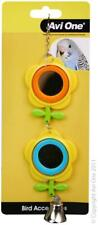 Caged Small Bird Toy Double Spinning Buttercup Bloom Mirror + Bell, Budgie