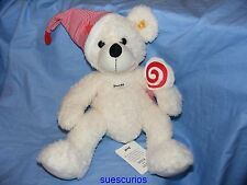 Steiff Teddy Bear  Lotte White Soft Body With Cap And Lolly 111501 40cm Present
