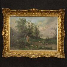 Quadro antico dipinto olio su tela paesaggio firmato con cornice dorata 800