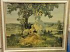 Antique Maytime Print Louis Jambor Southern Belles Reading Landscape Framed VTG