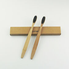 100PCS/Lot Bamboo Toothbrush Soft Black Bristles For Adult Oral Care Wholesale