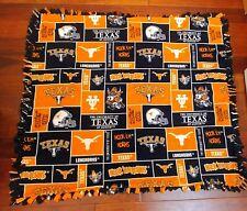 Handmade Tied Fleece Throw Blanket Texas Longhorns Ut 50x45 or child's blanket