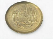 Antique Solid Brass Wall Plate Christian Zoroastrian Jewish Motifs People Animal