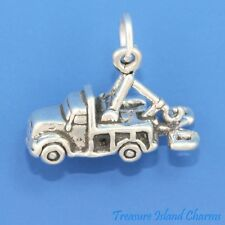 TOW TRUCK WRECKER RECOVERY LORRY 3D .925 Solid Sterling Silver Charm Pendant