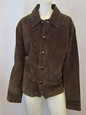 WOMEN SUEDE LEATHER COAT JACKET SIZE M, DARK BROWN VIC-THOR1
