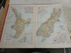 100% ORIGINAL LARGE NEW ZEALAND MAPS X2 WELLINGTON   BY G  BACON C1912 VGC