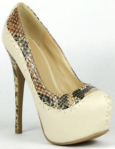 Beige Snake Print Almond Toe Platform High Heel Pump 6.5 us Liliana Paulette-22