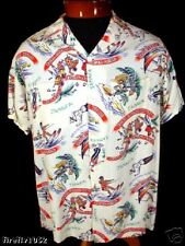 COLLECTABLE 1950'S JAMACIAN GABARDINE PRINT SHIRT