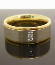 Titanium wedding style ring with gold plated edging & cubic zirconia stones