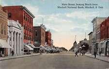 Mitchell South Dakota National Bank Main Street Scene Antique Postcard K21624