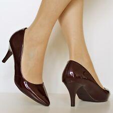 Ladies Women Patent Mid Heel Party Bridal Casual Court Shoes PUMPS Size-5972 Rose Gold UK 8 / EU 41/ US 10