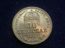 """10 Kreuzer ( Krjczar )  1868   KB  Franz Josef  - Ferenc """" Erhaltung """"  W/20/286"""