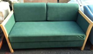 Vintage retro mid century Danish 2 seat sofa bed couch green beech wood