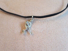 Hockey Player Pewter Charm Faux Suede Necklace - Additional colors available