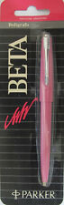 PARKER 45 BETA PINK CAP ACTIVATED BALLPOINT PEN NEW WITH STAINLESS STEEL CLIP