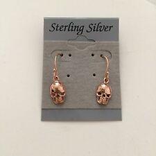 Rose Gold Plated Sterling Silver Skull Bones Earrings Hook Drop Punk Rocker Goth