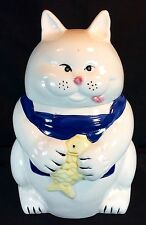 Vtg Cat Fish Cookie Jar Ceramic White Blue Montgomery Ward Mid Century