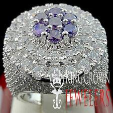 MENS REAL WHITE GOLD SILVER PURPLE AMETHYST LAB DIAMOND HUGE JUMBO XXL RING BAND