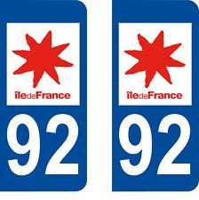 Département 92 sticker 2 autocollants style immatriculation AUTO PLAQUE