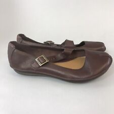 Clarks Size 39 UK6 D Brown Leather Slip On Mary Jane Flat Wedge Sandals Shoes