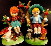 "FIGURINES APPLE TREE BOY & GIRL 6"" SCHNAUZER GOOSE BUSHEL OF APPLES VINTAGE"