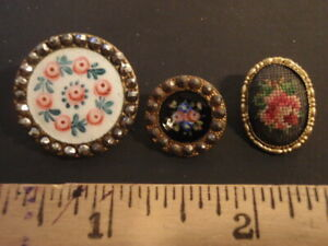 Lot of Vintage Metal-back Enameled & Fabric Buttons