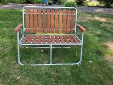 """Vintage Aluminum Red Wood Slats Folding Patio Lawn Chair Bench 38"""" Seat"""