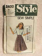 Vintage STYLE Teen Skirt Dressmaking Pattern 2400 Size C 9/10 & 11/12. VGC Cut