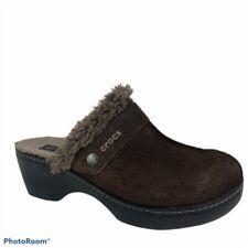 Crocs Womens Cobbler Mules Clogs Shoes Brown Suede Slip On Low Faux Fur  US 8 M