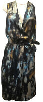 NWT  Tahari Women's 6 Watercolor Satin Surplice-Neck Faux-Wrap Sleeveless Dress