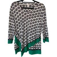 Chicos Womens Blouse Black Green Geometric 3/4 Sleeve V Neck Stretch L/12 NWOT