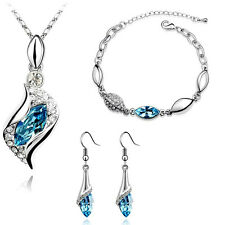 White Gold Plated Sea Blue Crystal Necklace Bracelet And Earrings Set