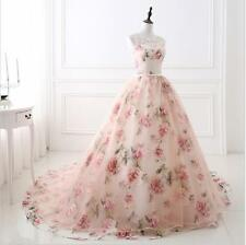 New Floral Print Tulle A Line Prom Pageant Dress Evening Party Celebrity Gown