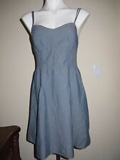 ❤️Muted Denim MOSSIMO Mini Dress Lined Upper Stretchy Ruched Waist NWOT Soft
