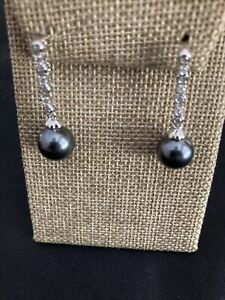 Estate Sterling Silver Black Tahitian Pearl 9Mm Drop Earrings
