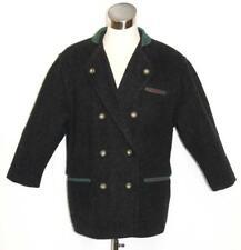 "BOILED WOOL JACKET Over Coat SHORT SLEEVES Women German WARM Black WINTER L B47"""