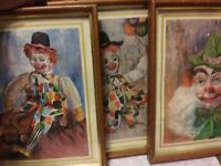 3 Clown Prints Framed 8x10