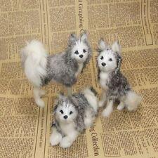 3 pcs mini simulaiton dog models polyethylene&fur husky dog toy about 12x8cm