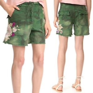 FREE PEOPLE Scout Camo Embroidered Shorts Sz 2 High Rise Floral Boho Frayed