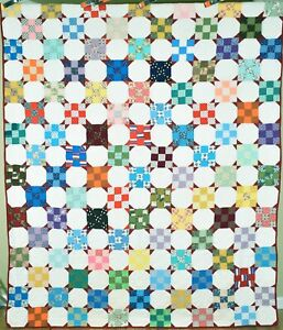 Large 40's Snowball Nine Patch Variation Antique Quilt ~Cheery Vintage Fabrics!