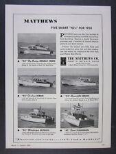 1958 Matthews 42 Fly Bridge Sedan Martinique Fisherman boats vintage print Ad