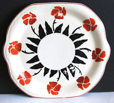 "1920s Bennett Bakeware Scalloped Cake Plate Stenciled Red Flowers 10.5"" FREE SH"