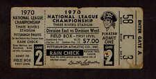 1970  NLCS GAME 2 TICKET STUB PITTSBURGH PIRATES  vs  CINCINNATI REDS  Clemente